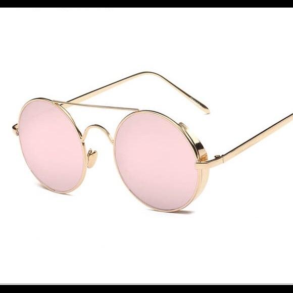 78cbf4b07e6c Round Bar Mirrored Pink Gold Sunglasses Polarized